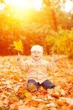 La mano adulta sostiene las hojas amarillas del otoño del bebé en la sentada del niño de la puesta del sol, Fotos de archivo libres de regalías
