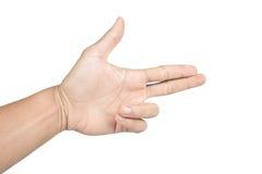 La mano aislada muestra el arma Imágenes de archivo libres de regalías