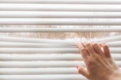 La mano apre i ciechi di finestra Copi lo spazio immagine stock libera da diritti