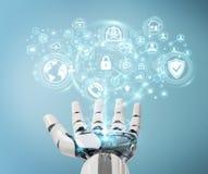 La mano bianca del robot facendo uso dei dati cyber di sicurezza collega il renderin 3D illustrazione di stock