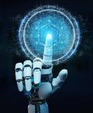 La mano bianca del robot facendo uso dell'ologramma digitale 3D del collegamento della sfera ren Fotografia Stock Libera da Diritti