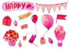 La mano birthaday feliz de la acuarela dibujada fijó en el color rosado aislado en el fondo blanco ilustración del vector