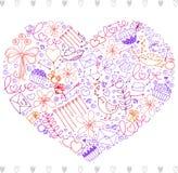La mano bosquejó el corazón de los elementos del día de tarjetas del día de San Valentín ilustración del vector