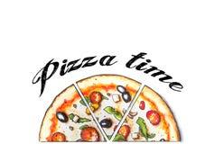 La mano bosquejó la pizza de salchichones Fotos de archivo libres de regalías