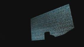 La mano cambia los canales ningún fondo del ruido TV del hombre Pantalla de la televisión con el ruido estático causado por la ma metrajes