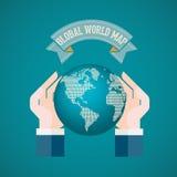 La mano che tiene il mondo sull'illustrazione blu di vettore del fondo Immagini Stock