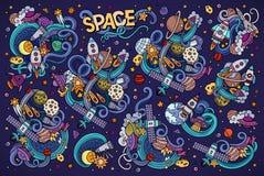La mano colorida del vector dibujada garabatea el sistema de la historieta de objetos del espacio Fotos de archivo libres de regalías