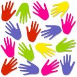 La mano Colourful stampa il reticolo della priorità bassa illustrazione vettoriale