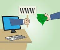 La mano con l'etichetta WWW e la mano tengono i soldi Immagini Stock