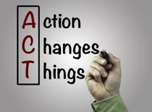 La mano con la acción de la escritura del marcador cambia las cosas (ACTO), negocio c Imagen de archivo