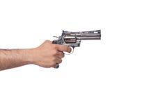 La mano con la arma de mano aislada en blanco Imágenes de archivo libres de regalías