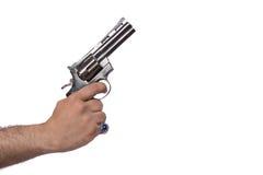 La mano con la rivoltella isolata su bianco Fotografie Stock Libere da Diritti