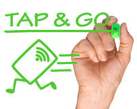 La mano con Pen Writing Tap y va sistema de la tarjeta de crédito Foto de archivo