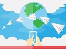 La mano connette al mondo immagini stock libere da diritti