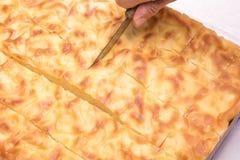 La mano cortó con una empanada búlgara tradicional del cuchillo adentro Fotos de archivo libres de regalías