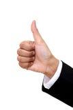 La mano de la empresaria muestra los pulgares para arriba Foto de archivo