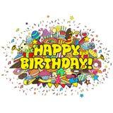 La mano de la fiesta de cumpleaños dibujada garabatea el fondo de los elementos Ilustración de la historieta del vector Foto de archivo libre de regalías