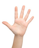 La mano de la mujer muestra los cinco Fotografía de archivo libre de regalías