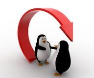 la mano de la oferta del pingüino 3d para el apretón de manos debajo recicla concepto de la flecha Imagen de archivo libre de regalías