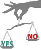 La mano de la persona pesa respuesta de NO del SÍ en escala libre illustration
