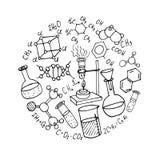 La mano de la química dibujada garabatea el fondo Imagen de archivo
