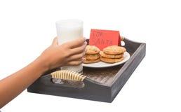 La mano de los niños ofrece la leche, galletas para Papá Noel IV Imagenes de archivo