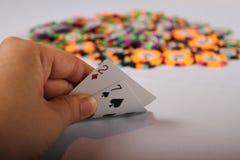 La mano de póker peor Fotografía de archivo