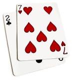 La mano de póker peor Foto de archivo libre de regalías