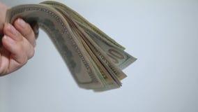 La mano de una mujer que lleva a cabo los dólares americanos en el fondo blanco Primer almacen de metraje de vídeo