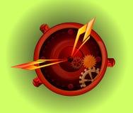 La mano degli uomini guarda l'accessorio Concetto di logo dell'orologio Simbolo della siluetta dell'orologio di vettore Immagini Stock Libere da Diritti