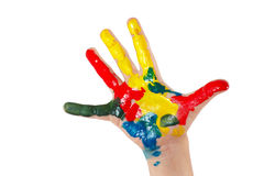 La mano dei bambini dipinti isolata su fondo bianco Fotografia Stock