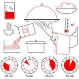 La mano del cameriere con il vassoio e le icone di cottura Fotografie Stock Libere da Diritti
