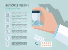 La mano del doctor que muestra la botella de píldoras Modelo del vector Iconos médicos determinados stock de ilustración