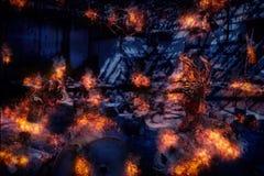 La mano del fantasma ha bruciato, mani sanguinose il fondo, il maniaco, sangue dello zombie Immagine Stock