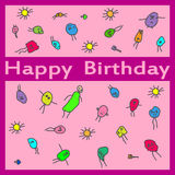 La mano del feliz cumpleaños ahoga la tarjeta del garabato Imagen de archivo libre de regalías
