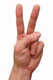 La mano del gesto de dos fingeres aislada Foto de archivo libre de regalías