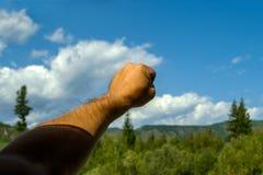 La mano del hombre, cubierta con el pelo, apretado en un puño, contra fotos de archivo
