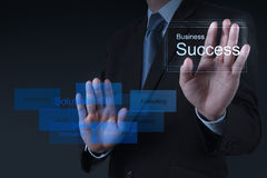 La mano del hombre de negocios dibuja la carta del éxito empresarial Imagen de archivo libre de regalías