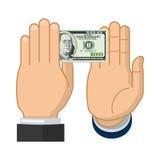La mano del hombre de negocios disminuye el soborno ofrecido Fotos de archivo libres de regalías