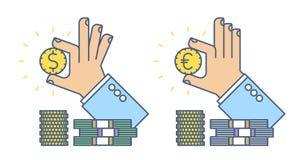 La mano del hombre de negocios que lleva a cabo un dólar y el euro acuñan Imagen de archivo libre de regalías