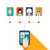 La mano del hombre de negocios que toca la pantalla de la tableta con los iconos del web permanece en red social del tacto y conc Foto de archivo