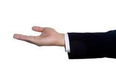 La mano del hombre firma adentro el traje aislado Foto de archivo libre de regalías