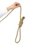 La mano del hombre lleva a cabo un bucle para el suicidio fotos de archivo