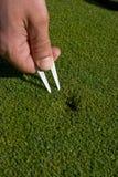 La mano del hombre repara el Divot en el verde del golf - vertical imagen de archivo