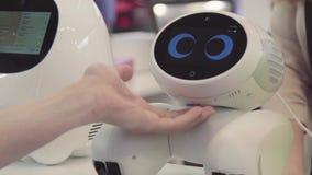 La mano del hombre toca el robot El robot es feliz con el tacto de un ser humano Concepto de la tecnología almacen de video