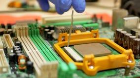 La mano del ingeniero informático trae el procesador de la CPU del ordenador almacen de video