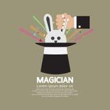 La mano del mago con el conejo en el sombrero Imágenes de archivo libres de regalías