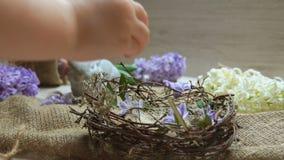 La mano del niño pone el huevo coloreado adentro en la jerarquía de Pascua metrajes