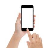 La mano del primo piano facendo uso del cellulare del telefono isolato su bianco, deride su smar Fotografie Stock Libere da Diritti