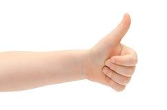 La mano del ragazzino mostra il pollice su Immagini Stock Libere da Diritti